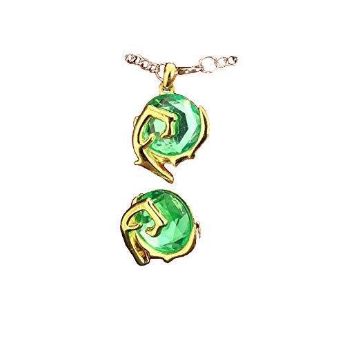 Momoso_Store 2 pcs of legend of zelda spiritual stones kokiri's emerald pendant necklace pins badge set in gift box cosplay accessories