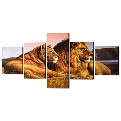 Yatsen Bridge 5 Panels Lions Canvas Wall Art Animal Painting on Canvas Modern Wild Lion and Lioness Pictures Posters Prints Artwork Home Decorations for Living Room Bedroom Office Framed (50' Wx24 H)