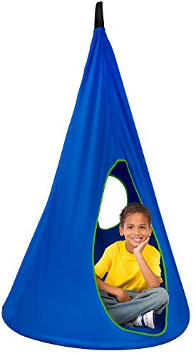 Sorbus Kids Nest Swing Chair Nook – Hanging Seat Hammock for Indoor Outdoor Use – Great for Children, (33 Inch, Nest Blue)