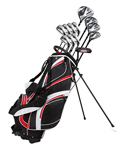 18 Piece Men's Complete Golf Club Package Set With Titanium Driver, #3 & #5 Fairway Woods, #4 Hybrid, 5-SW Irons, Putter, Stand Bag, 4 H/C's (Red, Regular Size)