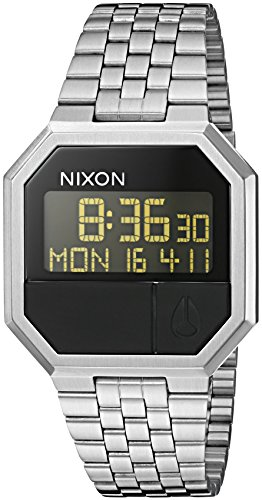 Nixon Re-Run All Black Men's 80s Style Digital Watch (38.5mm. Digital Face/All Black Stainless Steel Band)