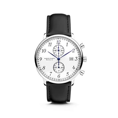 Armogan Regalia - Silvered White C84 - Men's Chronograph Watch Leather Strap