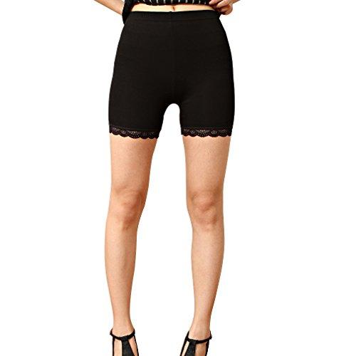 Liang Rou Women's Ultra Thin Stretch Short Leggings Lace Trim Black L