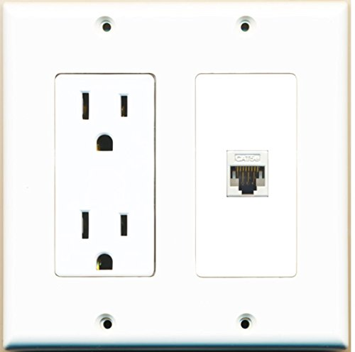 RiteAV - 15 Amp Power Outlet and 1 Port Cat5e Ethernet White Decorative Type Wall Plate White