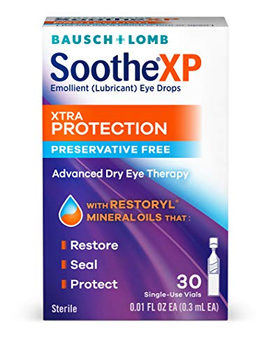 Bausch + Lomb Soothe Preservative-Free Lubricant Eye Drops, Xtra Protection, Box of 30 Single Use Dispensers