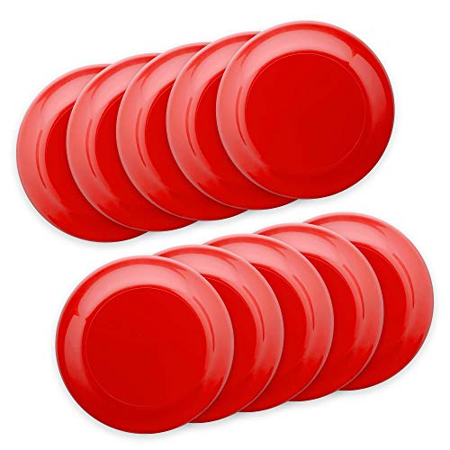 Frisbee Flying Discs - 10 pack - 9.25 in. Ultimate Frisbee Beach Sports Backyard Disc Golf Game (Blank - Red, • 10 frisbees)