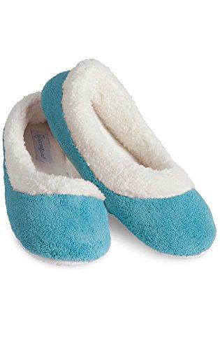 PajamaGram Ladies Slippers World's Softest - Fleece Slippers Women, Teal, 6