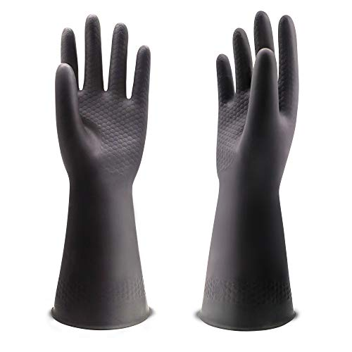 UXglove Chemical Resistant Gloves, Work Heavy Duty Industrial Rubber Gloves,12.2',Black 1 Pair Size Medium