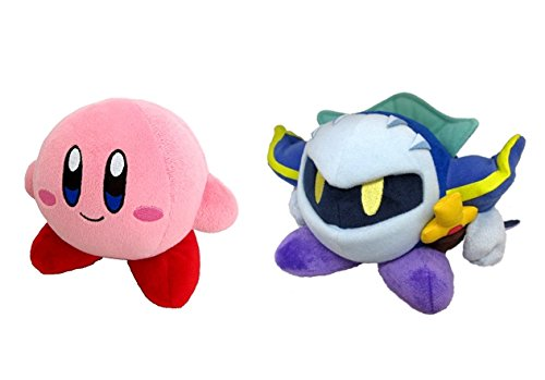 Little Buddy Set of 2 Kirby's Adventure All Star Stuffed Plushes - 1400 Kirby / 1402 Meta Knight, 5'