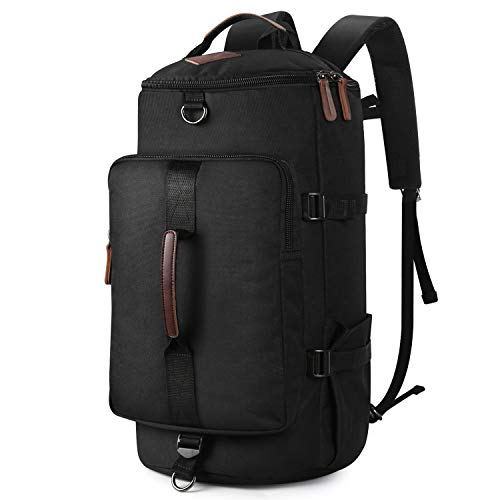 Backpack for Mens, Yousu Men's Nylon Backpack Vintage Large Capacity Water-resistant Duffel Bookbag Outdoor Traveling Multi Functional Rucksack Daypack 3-In-1 Black