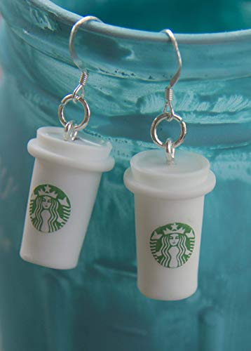 Christmas Gift for Coffee Lovers Coffee Earrings with STERLING SILVER Hooks Stocking Stuffer for Coffee Lovers - PLEASE READ DETAILS