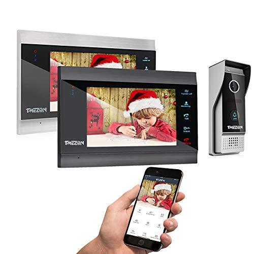 TMEZON Wireless Wifi Smart IP Video Door Phone Doorbell Intercom 4 Wire System 2 Monitor 7 Inch with 1080P Wired Doorbell Camera, Night Vision,Support Smartphone Remote unlock, Record,Snapshot