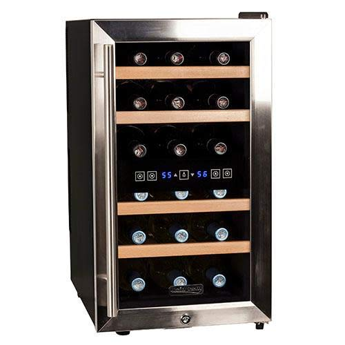 Koldfront TWR187ESS 18 Bottle Free Standing Dual Zone Wine Cooler, Black and Stainless Steel