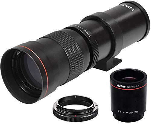 High-Power 420-1600mm f/8.3 HD Manual Telephoto Zoom Lens for Canon EOS 80D, EOS 90D, Rebel T3, T3i, T5, T5i, T6i, T6s, T7, T7I, T8I, SL3, EOS 70D, EOS 5D, EOS5D IV, EOS 6D II, EOS 7D II SLR Cameras