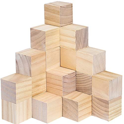HOZEON 60 PCS 2 Inches Wooden Cubes, Natural Unfinished Wood Blocks, Strong and Durable Wood Square Blocks for Painting, Puzzle Making, Decorating, Crafts and DIY Projects