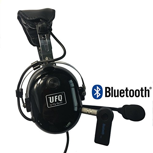 UFQ PNR Aviation Headset Free with Bluetooth Adapter Now TOP Sky Studio Great PNR Aviation Headset and Mp3 Input Bose Grade Hi-Fi Sound for Music Free with Pilot Headset Bag Leather Ear Seals