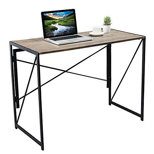 Modern Writing Computer Desk Simple Study Desk for Home Office Folding Laptop Table Computer Desk Foldable Industrial Metal Frame Notebook Desk