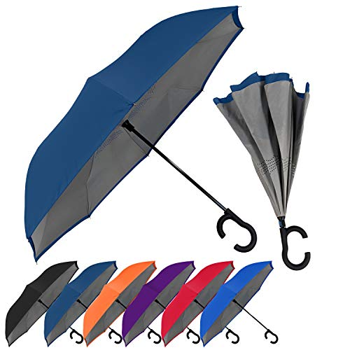 StrombergBrand ViceVersa (Reversible Umbrella with C Handle), Hands Free Umbrella For Men and Women, Inverted Umbrella Windproof - Self Standing Umbrella, Navy Blue Two-Tone Reverse Umbrella