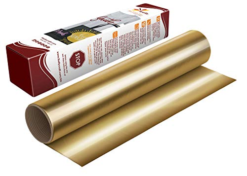 Firefly Craft Elastic Foil Gold Heat Transfer Vinyl Sheet | Metallic Gold HTV Vinyl | Foil Gold Iron On Vinyl for Cricut and Silhouette | Mirror Style Heat Press Vinyl for Shirts - 12' x 20' Sheet