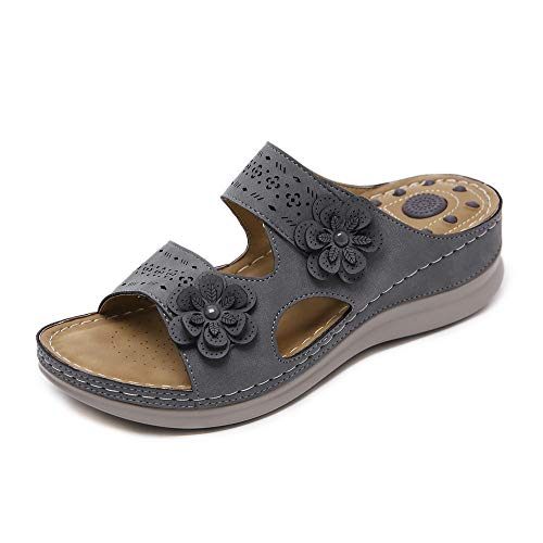 Womens Slide Sandals Open Toe Leather Flat Sandals Flowers Wedges Casual Walking Shoes (Grey, Numeric_9)