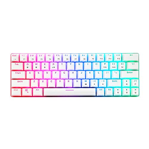 CQ63 60% Compact RGB Wireless Mechanical Gaming Keyboard, Bluetooth 5.0, Brown Switches, Wired Keyboard 63 Keys for PC Tablet Laptop Cell Phone, White