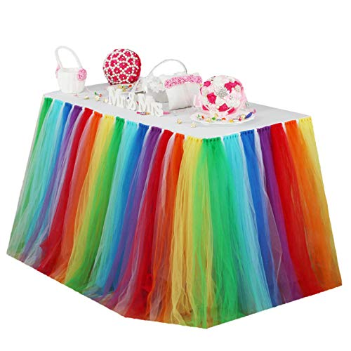 vLovelife 3.3ft Rainbow Tutu Table Skirt Tulle Tableware TableCloth Table Cover For Baby Shower Birthday Wedding Decoration Favor