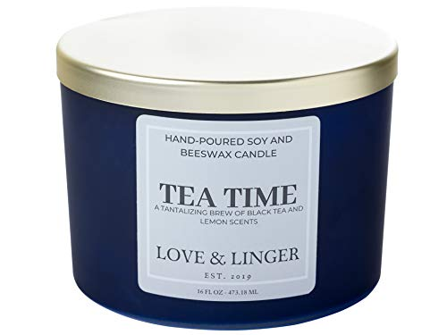 Black Tea Candles | Unique Candles | Luxury Soy & Beeswax Candles for Home | 16 oz. Large Jar 3 Wick Candle | Cool Candles | Kitchen Candle | Candle Gift