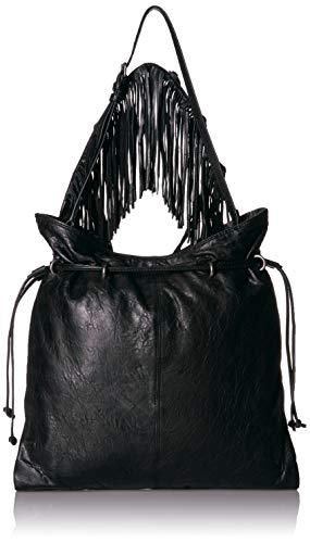 Frye Sacha Small Leather Fringe Hobo, Black