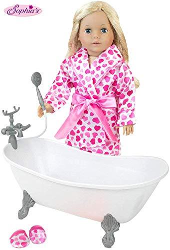 Sophia's 18 Inch Doll Bathtub Plus Heart Print PJs, Robe and Slippers for Dolls