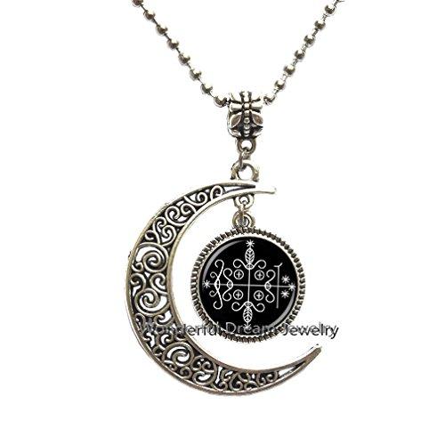 Waozshangu Fashion papa legba Voodoo Pendant Ritual Altar Pendant Occult Medallion Pendant Necklace Jewelry,PU195 (Silver)