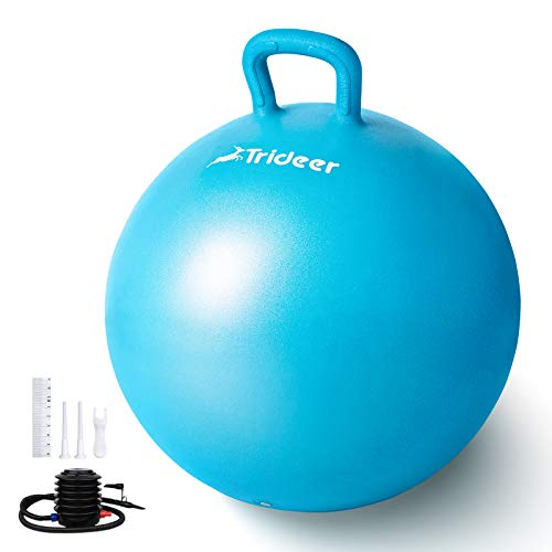 Trideer Kids Hopper Ball - Extra Thick Jumping Ball with Non-Slip Handle,Anti-Burst,New Version Sit & Bouncy Ball for Children Ages 3-12(Blue, Medium(Ages 8-12))