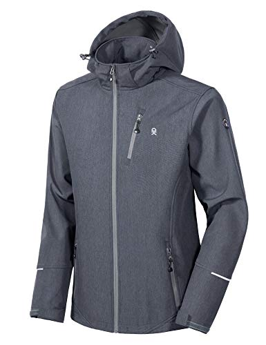 Little Donkey Andy Men's Softshell Jacket Ski Jacket with Removable Hood, Fleece Lined and Water Repellent Black Heather Size M