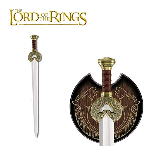 United Cutlery Lord of The Rings Herrugrim Sword of King Theoden of Rohan with Display Plaque - Brass-Plated Guard and Pommel - 27 1/2' Length