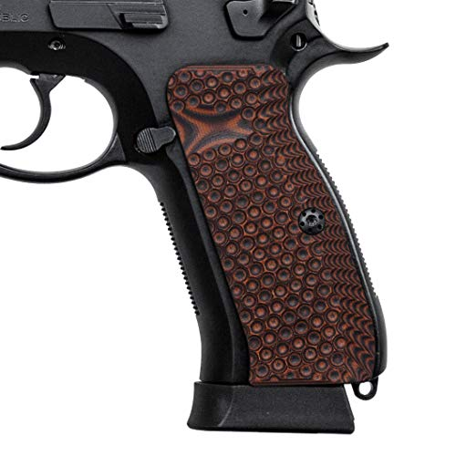 Cool Hand Grips for CZ 75 Full Size Palm Swell Back Style, Free Screws Included, Mag Release, Orange/Black G10? Golf Ball Dimple Texture, Brand, H6-TJ7-28
