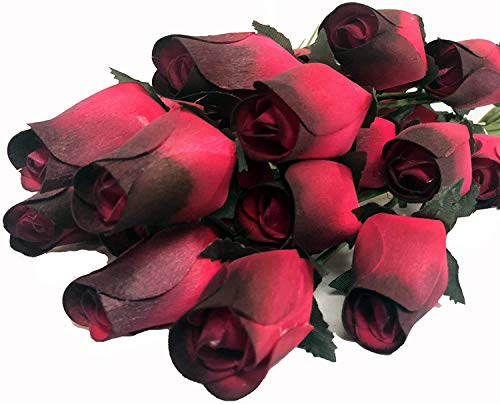 Aariel's Attic 24 Realistic Wooden Red Roses with Black Tips (Standard Version)