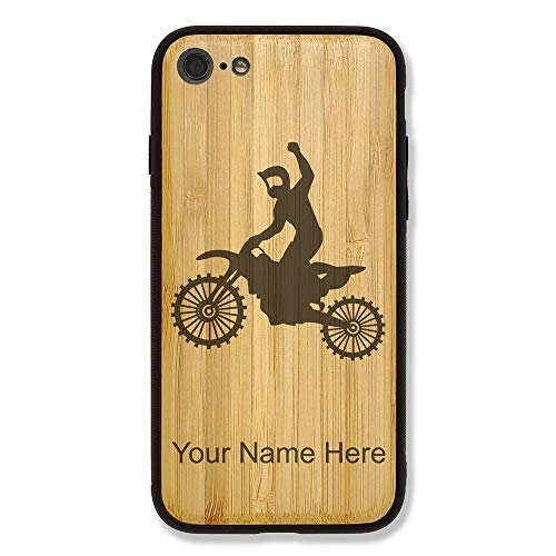 Case Compatible with iPhone 6 and iPhone 6s, Motocross, Personalized Engraving Included (Bamboo), Includes Screen Protector
