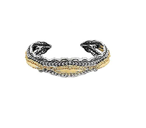 AFFY American West Sterling Silver with Brass Textured Bold Cuff by Fritz Casuse Cuff Bracelet
