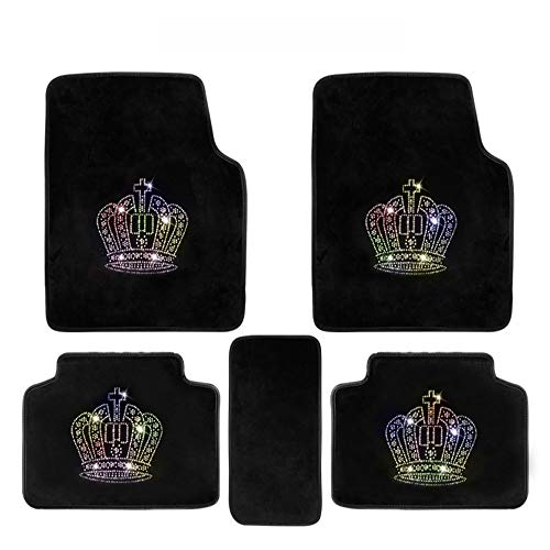 U So Shiny Black All Season Soft Flannel Leather Floor Mat/ Foot Mats for Car, Special Cute Diamond Crown Design for Women/Girls, 5 Pack/Set