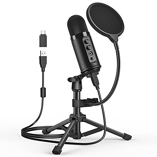 USB Microphone Gaming Mic for - Streaming & Recording, Podcasting, YouTube Microphone for Computer with Tripod Stand, Shock Mount, Pop Filter Compatible with Laptop,Desktop, Extra USB-C Adapter Packed
