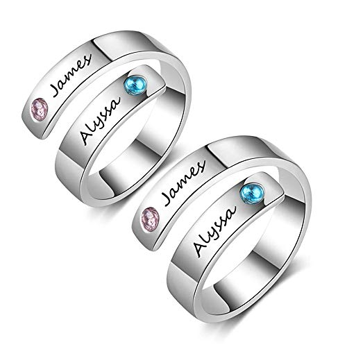 Personalized Free Engraving Name BFF Wrap Rings with 2 Simulated Birthstones For Women Adjustable Best Friends Promise Rings (Silver+Silver)