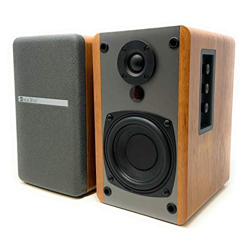 SINGING WOOD BT25 Active Bluetooth Bookshelf Speakers with Built-in Amplifier - Studio Monitor Speaker -2 AUX Input - Full Function Remote Control - Wooden Enclosure - 50 Watts RMS (Beech Wood)