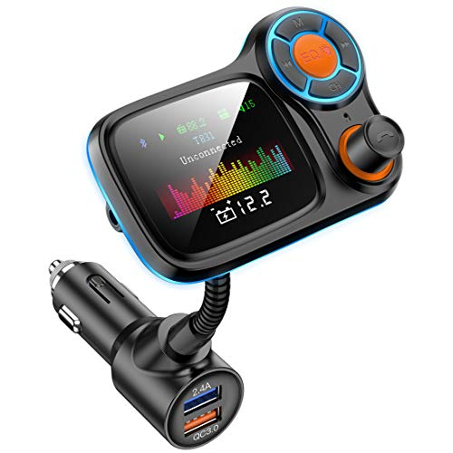 Wireless Car Bluetooth Adapter,Radio FM Transmitters HandsFree Call Receiver and MP3 Music/APP Audio Play,QC3.0 and Smart 2.4A Dual USB Charger,1.8' Color Display,Aux Port,TF Card