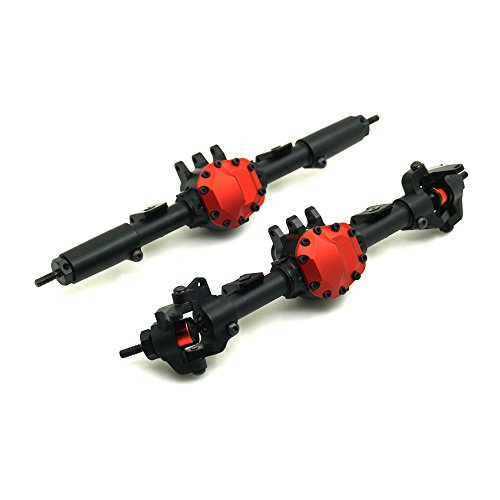 RCLions RC Crawler Alloy Front/Rear Axle with Steel Gear for Axial SCX10-II AX90046 AX90047