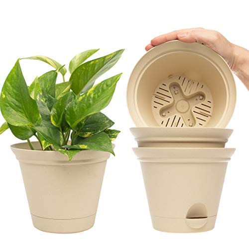 Misco (4 Pack) 6.8 Inch Plant Spa Flared Self Watering Planter Indoor Outdoor Planters Flower Pot