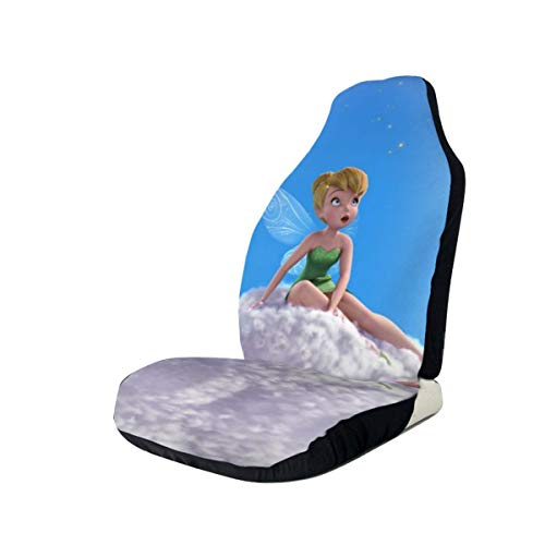 Light Rain Tinker Bell Car Seat Covers Interior Mat Cushion Pad Accessories Super Soft Vehicle Seats Decoration Protector Cover Bag Van Fits Most Cars Sedan SUV (2 Pieces Set)