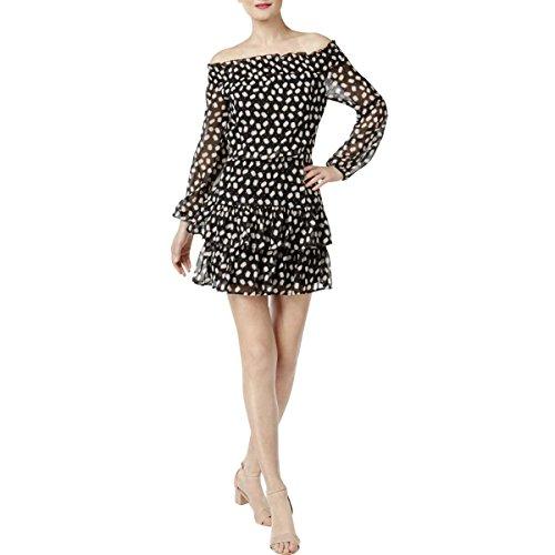 Cynthia Rowley Womens Black Ruffled Printed Long Sleeve Off Shoulder Above The Knee Blouson Dress Size L