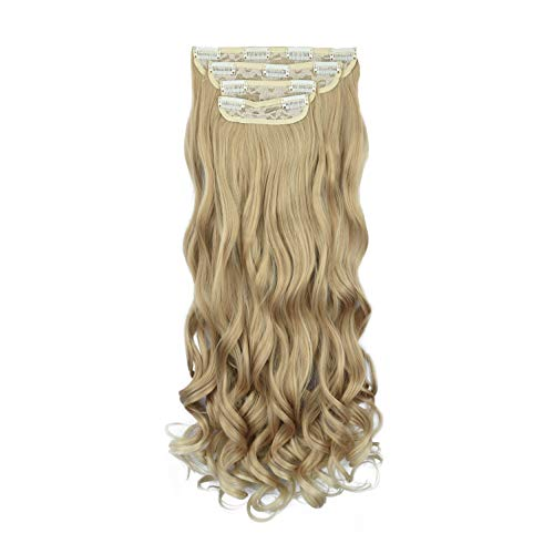 REECHO 24' Curly Wavy 4 Pieces Blonde Mixed Clip in on Hair Extensions 25T613