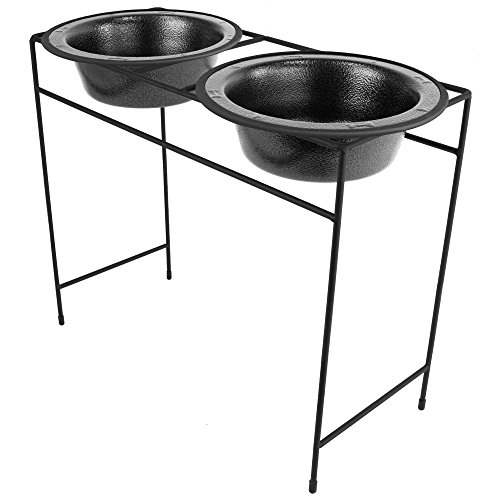 Platinum Pets Modern Double Diner Feeder with Stainless Steel Cat/Dog Bowls, Silver Vein, X-Large