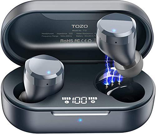 TOZO T12 Wireless Earbuds Bluetooth Headphones Premium Fidelity Sound Quality Wireless Charging Case Digital LED Intelligence Display IPX8 Waterproof Earphones Built-in Mic Headset for Sport Blue