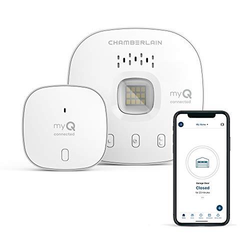 myQ Chamberlain Smart Garage Control - Wireless Garage Hub and Sensor with Wifi & Bluetooth - Smartphone Controlled, New Design, myQ-G0401-ES, White